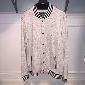 Brooklyn Cloth knit grey bomber jacket men's XL